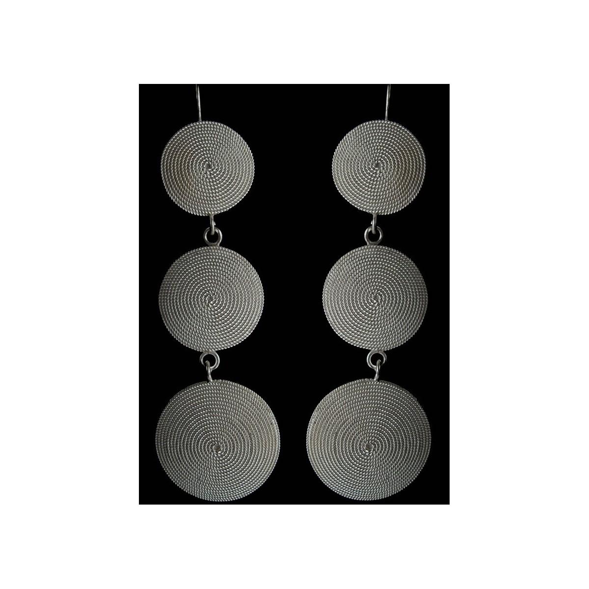 Orecchini a disco in argento filigrana