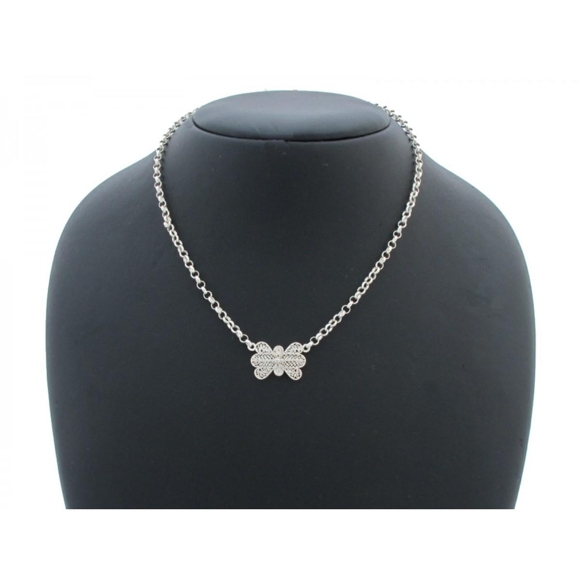 Collana argento 925% filigrana sarda farfalla