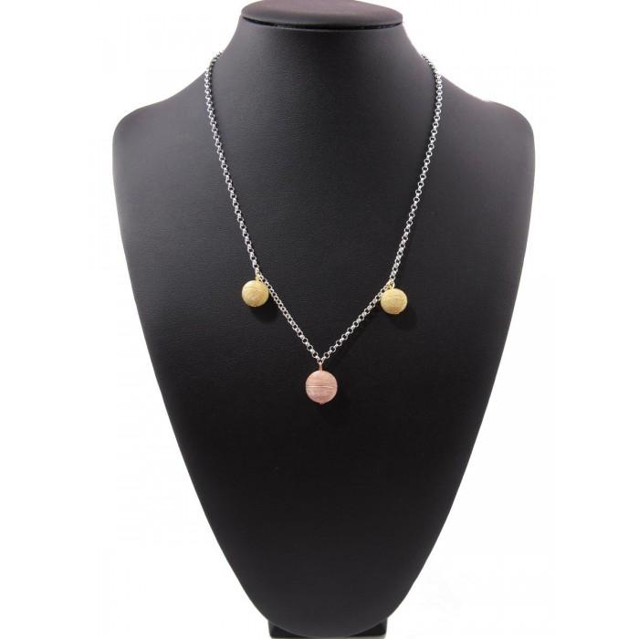Filigrana sarda collana argento rosa e giallo