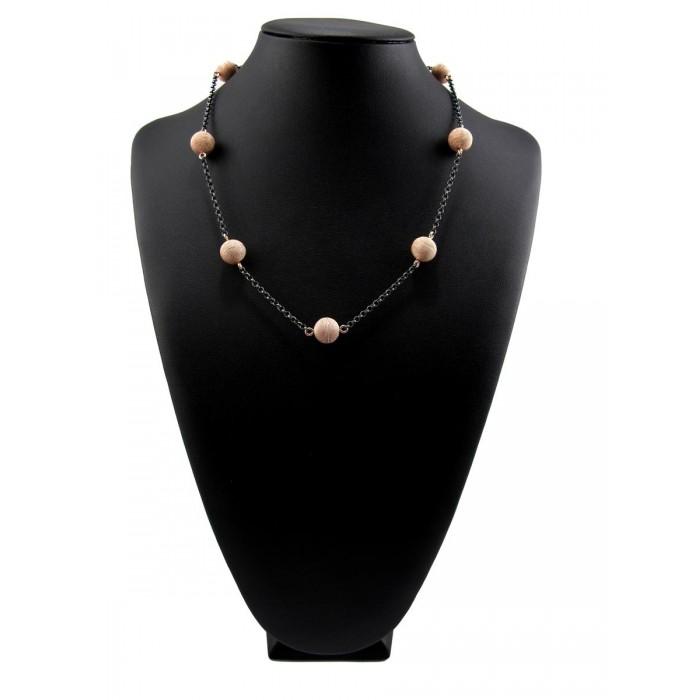 Collana filigrana argento brunito e rosa