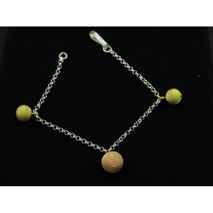 Bracciale argento in filigrana sarda con sfere dorate e rosate