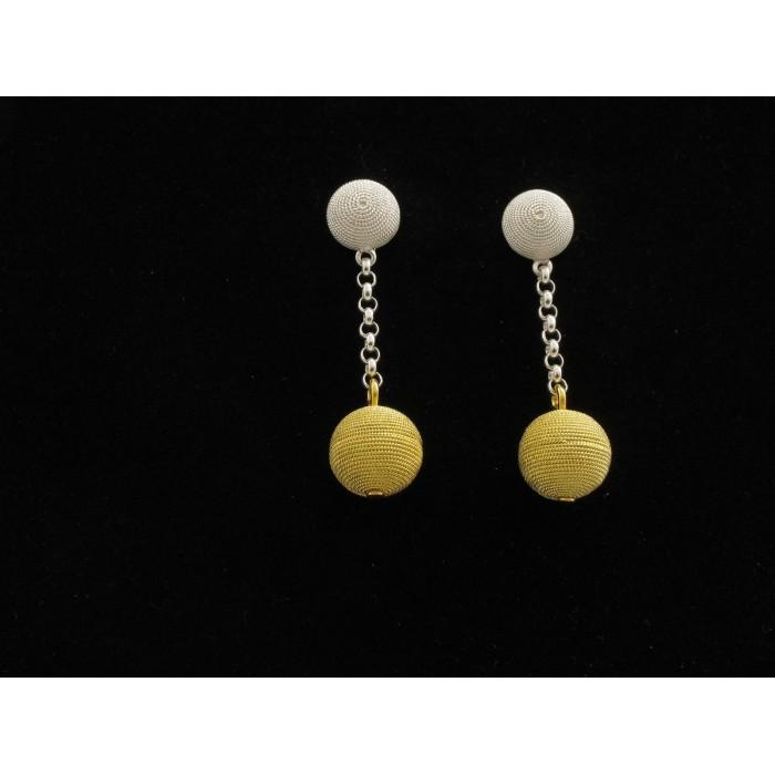 Orecchini pendente filigrana argento e dorato